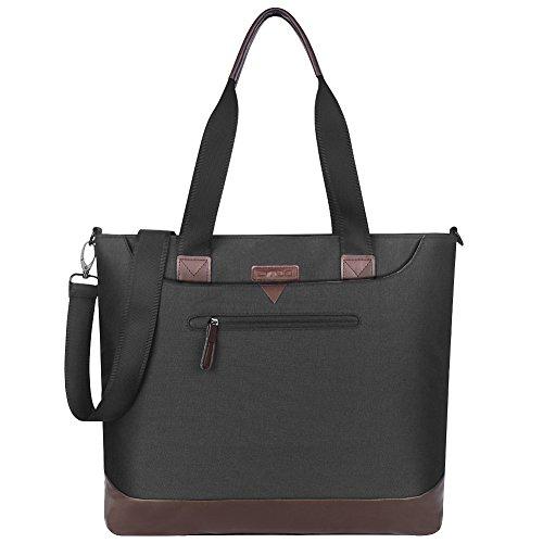 Women Laptop Bag 15.6 Inch,DTBG Nylon Multifunctional Classic Work Travel Messenger Shoulder Bag Office Briefcase Handbag Tote Bag for 15 - 15.6 Inch Laptop / Notebook / MacBook/Tablet PC,Black-Brown