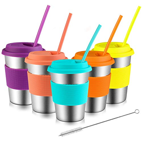(Kids Stainless Steel Cup, Sippy Cups for Toddlers 12oz with Silicone Sleeves, Lids and Straws, Bpa Free Premium Metal Drinking Glasses (Pack of 5))