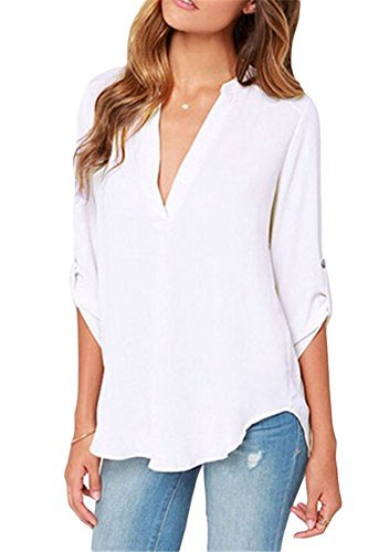 (roswear Women's Casual V Neck Cuffed Sleeves Solid Chiffon Blouse Top White Small)
