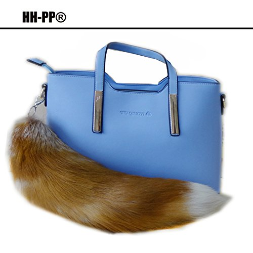 HHIPP 15'' Stylish Fox Fur Tail jewellery Bag Hanging Keychain Keyring Natural Color Fashion Bag Hanging Accessories Genuine Cosplay Toy (2) by HHIPP (Image #1)