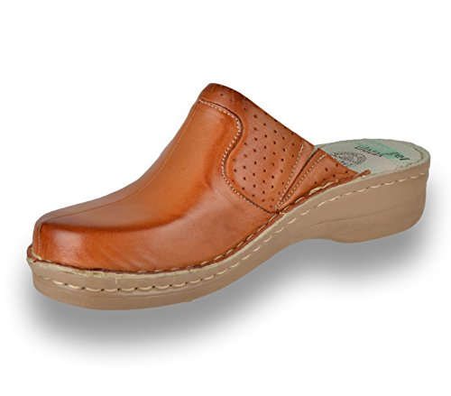 Slippers Brown Ladies Womens Leather Mule Slip Shoes Clogs Leon on 360 8vHqO1f