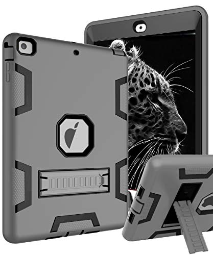 TOPSKY iPad Air Case, iPad A1474/A1475/A1476 Kids Proof Case, Heavy Duty Shockproof Rugged Armor Defender Kickstand Protective Cover Case for iPad Air Grey Black