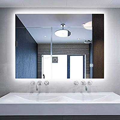 "Alice LED Backlit Mirror Illuminated Bathroom Mirror with Dimmable Anti-Fog Function and Touch Button (LED-32""x24"") - Anti-fog Function - defogging function will be automatically enabled when the LED light is turned on, so you don't need to worry about your mirror surrounded by steam. Dimmable Light - touch the button for 3 seconds, then you can start adjusting the light to suit your needs. Brightness range is 0-1600LM/1800LM. When the light reaches the brightest or the darkest, the button will flash. Touch On/Off Button - you can turn on/off the light with just one light touch on the botton. Also our backlit mirror can also be hard wired so you can connect it to a switch - bathroom-mirrors, bathroom-accessories, bathroom - 41s4 aJMozL. SS400  -"