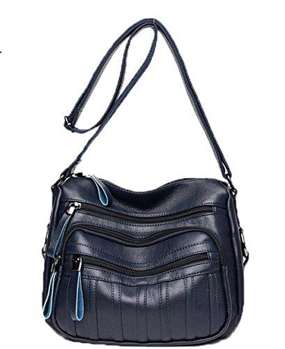 Pu Cuir Femme Bleu sacs AgooLar Mode GMBBB180932 Décontractée à bandoulière Des Zippers Sacs wtCadqnqI