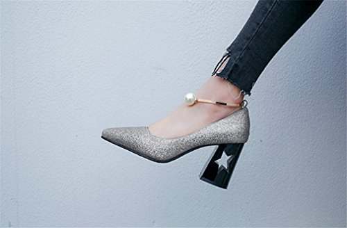 Novia a Silver Tacón Chicas Femeninos Partido Sandalias Boda Parpadean a Clover De Alto Lucky Intermitente Zapatos Corte Ahuecadas La Oficina Rnwq50HxCW