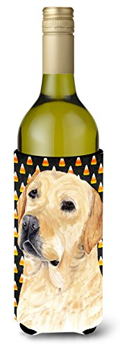 Caroline's Treasures SC9198LITERK Labrador Yellow Candy Corn Halloween Wine Bottle Beverage Insulator Beverage Insulator Hugger, Wine Bottle, multicolor]()
