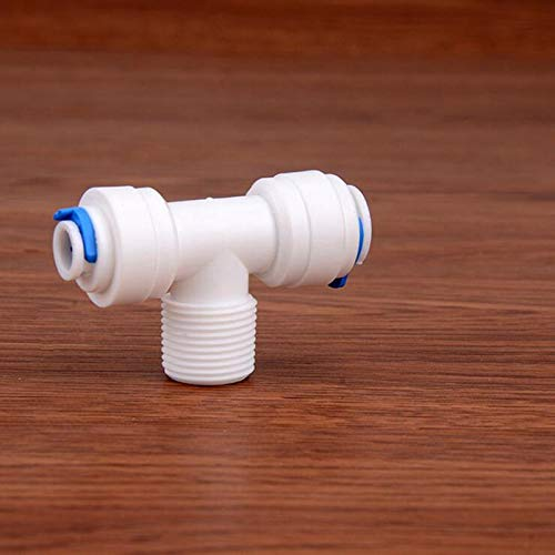 Xucus 1//4 or 3//8 BSP Male Thread to 1//4 to 3//8 OD Tube Tee Type PE Pipe Fitting Hose Quick Connector RO Water Filter System Parts Thread Specification: 1//4