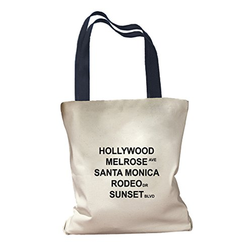 Hollywood Melrose Ave Canvas Colored Handles Tote Bag - - Center Shopping Hollywood