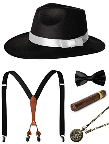 1920s Mens Accessories Gatsby Gangster Costume Accessories Set Manhattan Fedora Hat Suspenders Bow Tie Pocket Watch (Black -