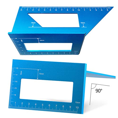 (MAMaiuh 45/90 Degree Woodworking Drawing Tool Circular Center Point Finder Measuring Square Tool with Gauge & Ruler -Scribing Tool (Blue))