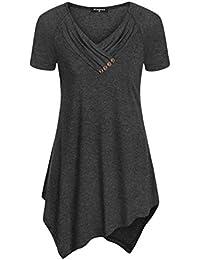 Womens Uneven Hemline Shirt Tunic Short Sleeve Casual Tops