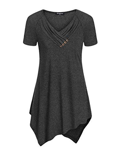 Ruched Cotton Tunic - Miagooo V Neck Tunic Top, Leisure Go-to Work Shirts Soft Comfy Hooded Sweatshirt Dark Grey X-Large