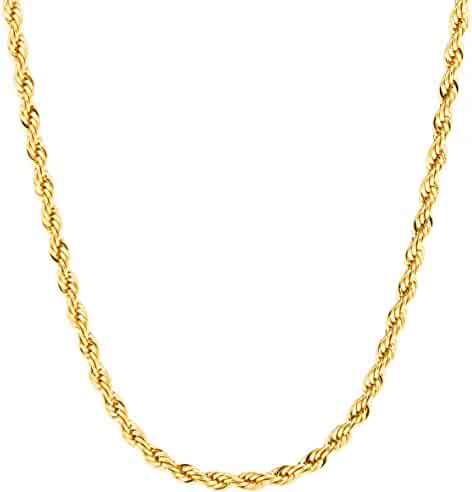 Lifetime Jewelry 3MM Rope Chain, 24K Gold with Inlaid Bronze, Premium Fashion Jewelry, Wear Alone or with Pendant, GUARANTEED FOR LIFE, Sizes 16 to 30 Inches