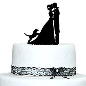 Buythrow Unique Wedding Cake Toppers Bride and Groom Silhouette and Dog by buythrow