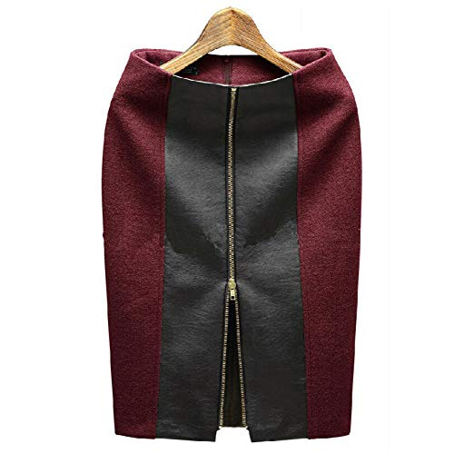 Patchwork Mujer Invierno Black Cremallera Lápiz Falda Lápiz Skirt Para Pencil Otoño Alta De Cintura Swovq CpBq4