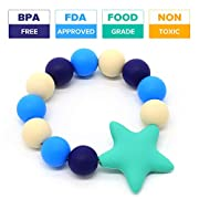 Vizbrite Teether Ring for Baby Infant and Toddler Soft hygienic silicone toys, Grade Silicone Eco Friendly BPA Free & Freezer Safe- Sore Gums Pain Relief ( Blue )