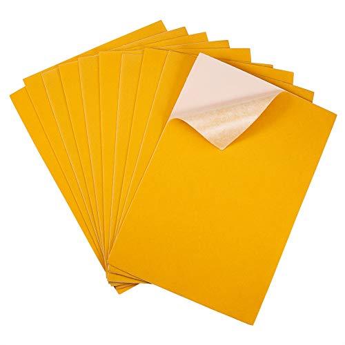 BENECREAT 20PCS Velvet (Gold) Fabric Sticky Back Adhesive Back Sheets, A4 Sheet (8.3