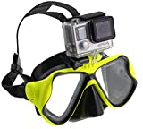 Navitech Lime Green Dive Scuba Diving Mask with Mount Compatible with The GoXtreme Black Hawk+ 4K Action Camera