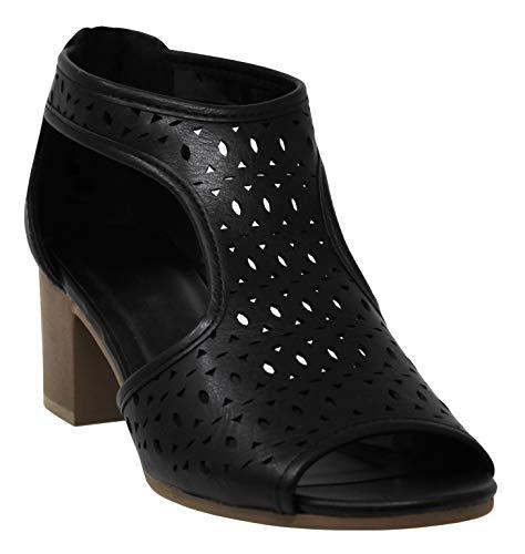 MVE Shoes Women's Open Toe Single Band Buckle Ankle Strap Chunky Low Mid Block Heel Sandal, Gamero Black pu 7.5 ()