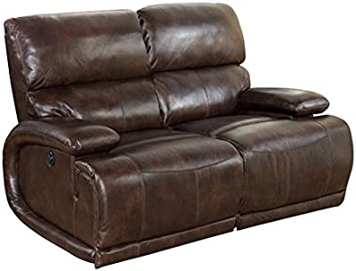 Barcalounger Hudson II Power Recline 2 Seat Vermont Bark Leather LoveSeat Sofa