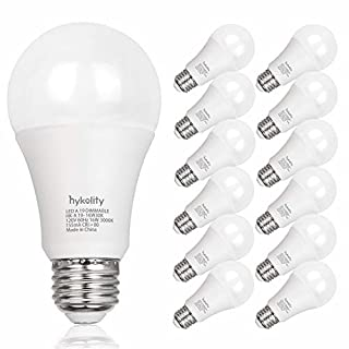 12 Pack 100W Equivalent A19 LED Light Bulb, 16W, 5000K Daylight, 1600LM, E26 Medium Base, Dimmable, UL Listed