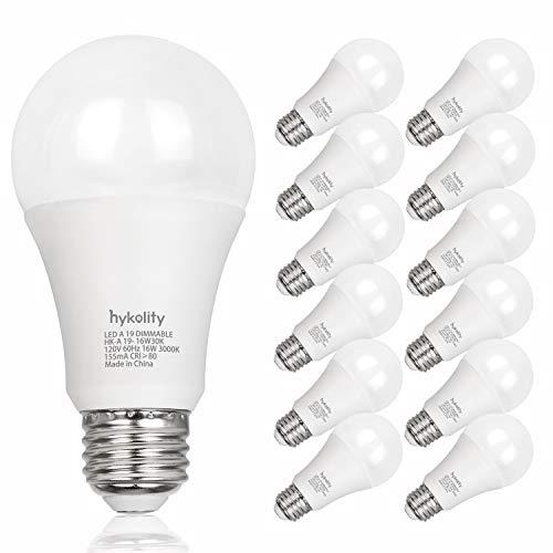 Hykolity 12 Pack 100W Equivalent A19 LED Light Bulb, 16W, 3000K Warm White, 1600LM, E26 Medium Base, Dimmable, UL Listed from hykolity