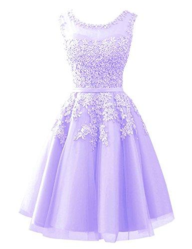 Ballkleid Applikationen Elegant Partykleid Kurz Damen Mit Abendkleider Carnivalprom Lavendel Brautjungfernkleider tX4wI