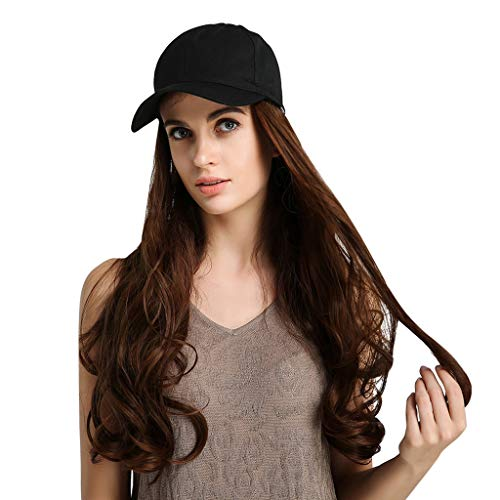 Roisay Long Curly Brown Wig Cap,Creative Pure Natural Easy to Wash Baseball Hat Wig with Hair Attached for Cosplay Wig/Patient Hat Wig/for Schools Sports/for Women