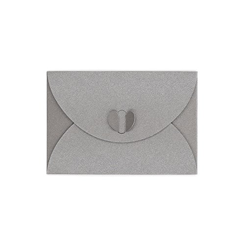 Jia Hu 100Pcs Letter Envelope Heart Buckle Envelope Birthday Card Greeting Card Silver White