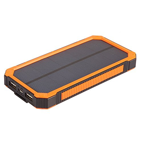 Solar Cell Phone Charger 15000 mah, With Flashlight, Portable Outdoor Dual Charger, Solar Power Bank-Water Waterproof, Shockproof, Dustproof USB External Battery Pack-Battery Bank for iPhone, Android by WakeUp