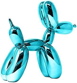 10 in Balloon Dog Animal Art Sculpture Blue Metallic Finish