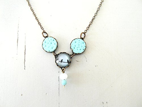 Mint pendant necklace , birds charm , Vintage Style Jewelry , gifts for her