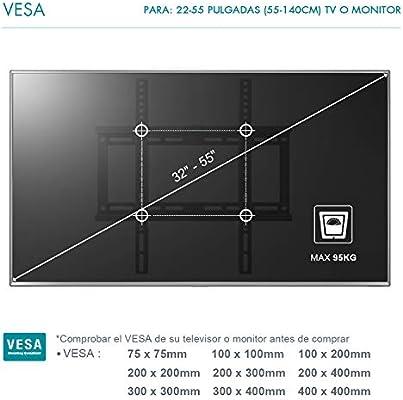 Famgizmo Soporte de Pared Fijo para TV de 22-55 Pulgadas (55-140cm), VESA 100x100-400x400mm, Carga hasta 95kg, para Televisores de Pantalla Plana LED LCD Plasma Curvada, Nivel de Burbujas Incluido: Amazon.es: Electrónica