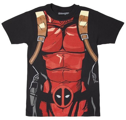 Deadpool Black 30 Single Costume T-Shirt - (Deadpool Costume Shirt)