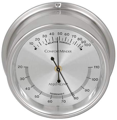 (Comfortminder Humidity Instrument - Nickel Case, Silver face)