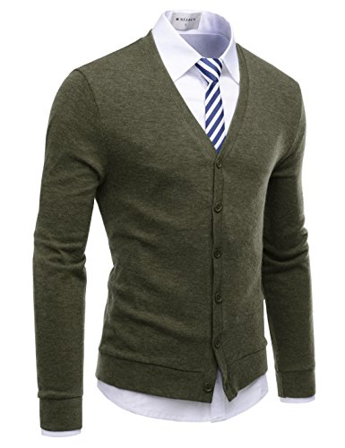 - NEARKIN (NKNKCAC1 Mens Knitwear City Casual Slim Cut Long Sleeve Cardigan Sweaters Khaki US XL(Tag Size XL)