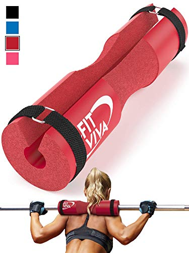 Fit Viva Red Barbell Pad for Standard and Olympic Barbells with Velcro Safety Straps - Foam Pad for Weightlifting, Hip Thrusts, Squats, and Lunges