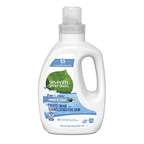Hypoallergenic Detergent - Seventh Generation Concentrated Laundry Detergent, Free & Clear unscented, 40 Fl Oz (53 Loads)