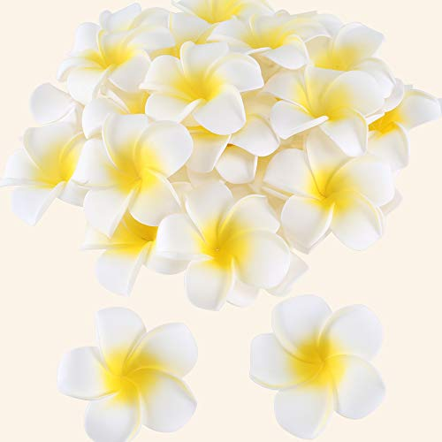 XYXCMOR Hawaiian Foam Plumeria Flowers 30pcs Artificial Plumeria Rubra Frangipani Flower Heads for Beach Wedding Cake Luau Party Table White (Best Flowers For Beach Wedding)