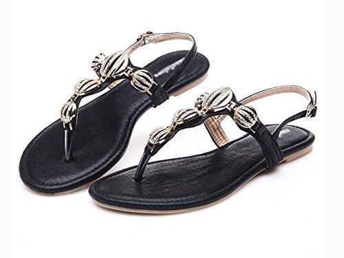toe clip con sandalias planas del rhinestone hebilla de los zapatos, zapatos casuales estudiante romanos Black