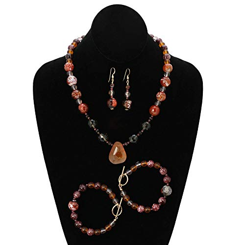 Dramatic art jewelry. Handmade jewelry set with a necklace, two bracelets and dangle earrings. Carnelian, smoky quartz, brown green garnet and mixed gemstones. One of a kind