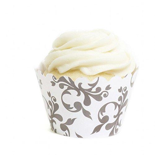 Dress My Cupcake Grey Filigree Cupcake Wrappers, Set of 12