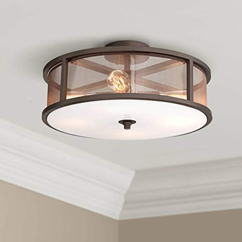 Nadia Modern Industrial Ceiling Light Semi Flush Mount Fixture Oil Rubbed Bronze 18 3/4