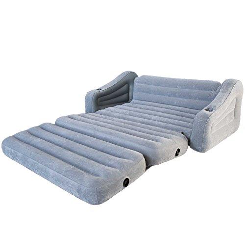 [해외]Intex 풍선 2 인 1 풀 아웃 소파 및 퀸 에어 매트리스 이불, 그레이/Intex Inflatable 2-In-1 Pull-Out Sofa and Queen Air Mattress Futon, Gray