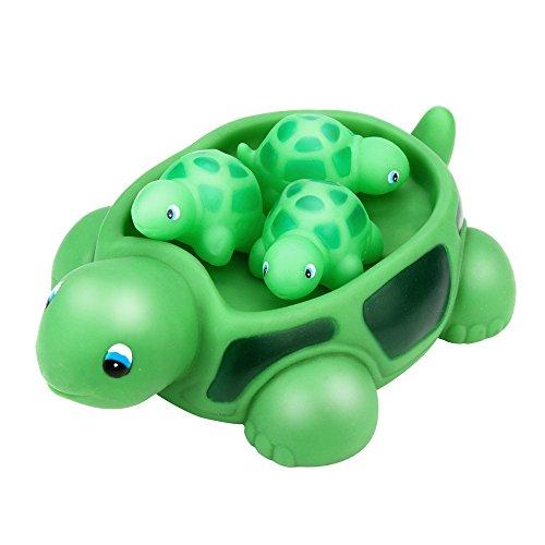 Iulove Shrilling Rubber Cute Sea Turtle Family Bathtub Pals Floating Bath Tub Toy