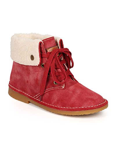 Nature Breeze Women Distressed Nubuck Shearling Snap Folded Cuff Boot CI25 - Red (Size: 9.0)