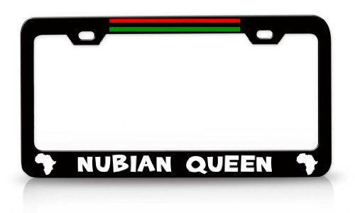 License Plate Covers Nubian Queen African Map Steel Metal License Plate Frame Bl # 92