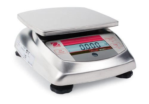 Ohaus Compact Bench Scales - Valor 3000 Xtreme Compact Scales Model V31XW3, 3kg x 0.5g, 6.615 x 0.005lb, 105.8 x 0.05 oz or 1/8 oz default resolution<BR>6.6 Lb x 0.005lb, 105.80oz x 0.05oz, 3000g x 1g Certified Resolution<BR>Platform Size 5.75 x 6.22 in / 146 x 158 mm - 0.05 Ounce Model