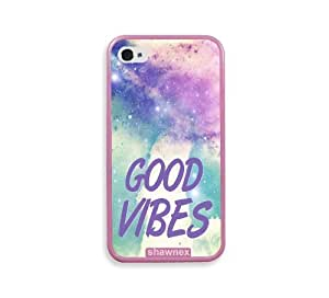 Shawnex Good Vibes Hipster Quote Lilac Pink Silicon Bumper iPhone 4 & 4S Case - Fits iPhone 4 & 4S