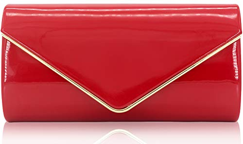 Dexmay Patent Leather Envelope Clutch Purse Shiny Candy Foldover Clutch Evening Bag for Women Red